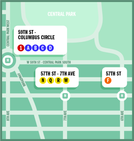 Stylized map of The Inner Stage showing nearby subway stations